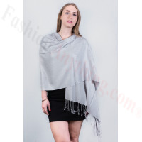 Silky Soft Solid Pashmina Scarf Light Grey