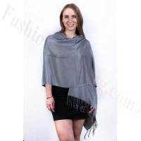 Silky Soft Solid Pashmina Scarf Ash Grey
