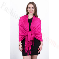 Silky Soft Solid Pashmina Scarf Fuschia Pink