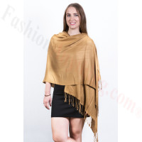 Silky Soft Solid Pashmina Scarf Golden Tan