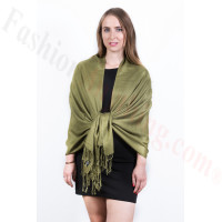 Olive Green Solid Pashmina Scarf