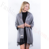 Medium Grey Solid Pashmina Label Scarf