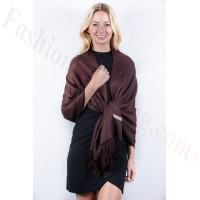 Coffee Solid Pashmina Label Scarf
