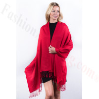 Red Solid Pashmina Label Scarf