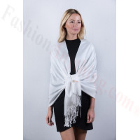 White Solid Pashmina Label Scarf