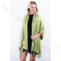 Mantis green Solid Pashmina Label Scarf