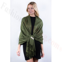 Moss Green Solid Pashmina Label Scarf