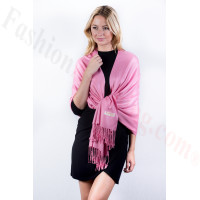 Carnation Pink Solid Pashmina Label Scarf