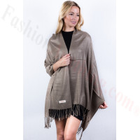 Khaki Brown Solid Pashmina Label Scarf