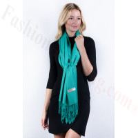 Jungle Green Solid Pashmina Label Scarf