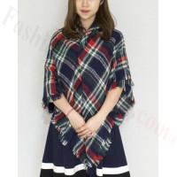 Oversized Blanket Shawls Navy/Red