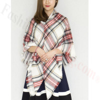 Oversized Blanket Shawls Grey/Whtie