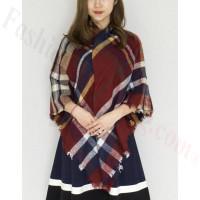 Oversized Blanket Shawls Dark Red/Navy