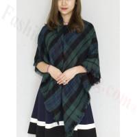 Oversized Blanket Shawls Green/Navy