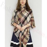 Oversized Blanket Shawls Brown/Burgundy