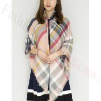 Oversized Blanket Shawls Multi Pink