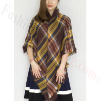 Oversized Blanket Shawls Brown/Yellow