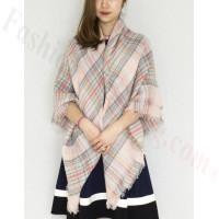 Oversized Blanket Shawls Pink/Grey