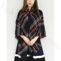 Oversized Blanket Shawls Black/Burgundy