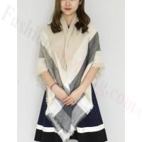 Oversized Blanket Shawls Beige/Grey