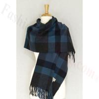 Cashmere Feel Plaid Shawl Dark Grey / Blue