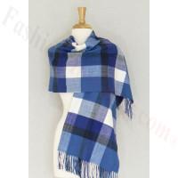 Cashmere Feel Plaid Shawl Blue