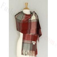 Cashmere Feel Plaid Shawl Grey / Red