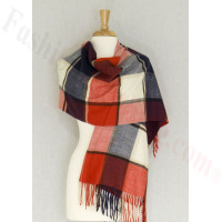 Cashmere Feel Plaid Shawl Navy / Red