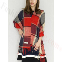 Cashmere Feel Scarf Red/Navy