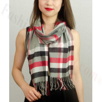 Woven Cashmere Feel Plaid Scarf Grey / Red