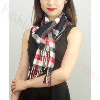 Woven Cashmere Feel Plaid Scarf Z01 Black/Red