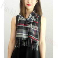 Woven Cashmere Feel Plaid Scarf Z02 Red/Black