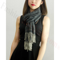 Woven Cashmere Feel Special Design Scarf Z04 Dark Grey