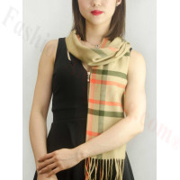 Woven Cashmere Feel Plaid Scarf Z08 Tan