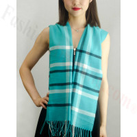 Woven Cashmere Feel Plaid Scarf Turquoise