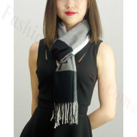 Woven Cashmere Feel Checker Scarf Z09 Black/Grey