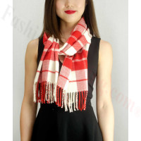 Woven Cashmere Feel Plaid Scarf Z16 Red