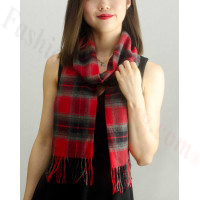 Woven Cashmere Feel Plaid Scarf Z17 Red / Grey