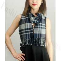 Woven Cashmere Feel Plaid Scarf Z18 Navy/Grey