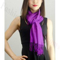 Solid Cashmere Feel Scarf Purple