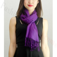 Solid Cashmere Feel Scarf Grape