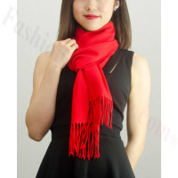 Solid Cashmere Feel Scarf Red