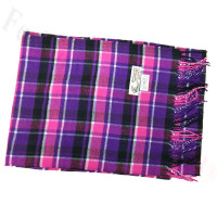 Woven Cashmere Feel Plaid Scarf Z21 Purple / Pink