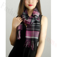 Woven Cashmere Feel Plaid Scarf Z22 Hot Pink/Black