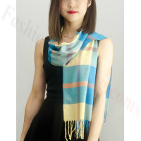 Woven Cashmere Feel Plaid Scarf Z23 Yellow / Blue