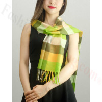 Woven Cashmere Feel Checker Scarf Z23 Lime