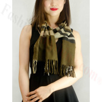 Woven Cashmere Feel Plaid Small Grid Scarf Brown