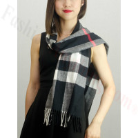 Woven Cashmere Feel Plaid Scarf Z28 Black/Red