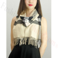 Woven Cashmere Feel Plaid Scarf Z28 Black / Beige
