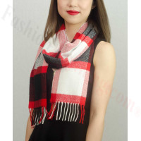 Woven Cashmere Feel Plaid Scarf Z29 Black / Red